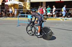 Corsa del ciclo di Team Sky In Time Trial Immagini Stock Libere da Diritti