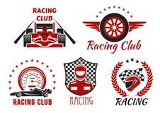 Corsa del club, progettazione delle icone della concorrenza del motorsport illustrazione di stock