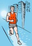 Corsa del corridore di maratona del pareggiatore Fotografia Stock
