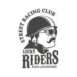 Corsa del modello dell'emblema del club Via che corre club Lucky Riders M. royalty illustrazione gratis