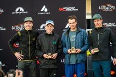 Corsa dell'Australia UTA11 della Ultra-traccia Sopra i degasatori del posto della corsa sul podio con il rappresentante del garan immagine stock libera da diritti
