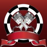 Corsa dell'emblema con la bandiera di colore rosso e del pistone Fotografia Stock