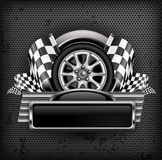 Corsa dell'emblema sul nero & sul testo Immagine Stock