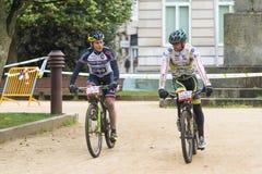 Corsa della bici di Moutain Fotografia Stock