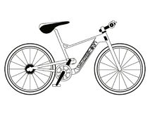 Corsa della siluetta della bicicletta Fotografie Stock