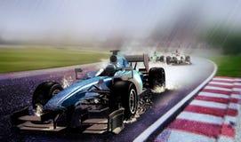 Corsa di automobile piovosa Fotografia Stock