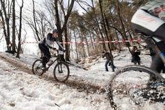 Corsa di bicicletta di inverno immagini stock libere da diritti