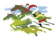 Corsa di cavalli, una velocità massima di tre cavalli immagine stock libera da diritti