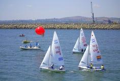 Corsa 2015 di Junior European Championship Sailing Immagini Stock Libere da Diritti
