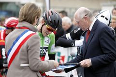 Corsa di Rohan Dennis Team BMC Immagini Stock Libere da Diritti