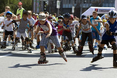 Corsa di Rollerskates -1 Immagine Stock