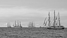Corsa di Sailships sotto le vele piene Immagine Stock