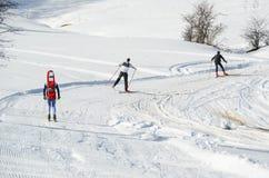 Corsa di sci in Metsovo Grecia Fotografia Stock
