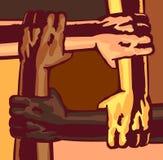 Corsa differente e colore della pelle di armi che si tengono, illustrazione multi-etnica di cooperazione della comunità di solida Fotografie Stock Libere da Diritti