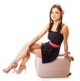 Corsa e vacanza Donna con la borsa dei bagagli della valigia Immagini Stock Libere da Diritti