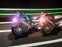 Corsa futuristica del motociclo Fotografia Stock