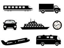 Corsa, icone del trasporto illustrazione vettoriale