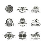 Corsa, motociclo, etichette, logo, distintivi ed emblemi di vettore di riparazione della motocicletta retro illustrazione di stock