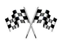 Corsa a quadretti striata del motore delle bandiere Immagine Stock