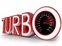 Corsa veloce del tachimetro rosso di parola 3d di Turbo Immagine Stock Libera da Diritti