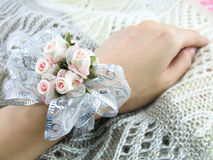 Corsage on Wrist. A pretty corsage tied on the wrist stock photo