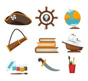 Corsair childish toys. Vector illustration of child sailor costume and elements Royalty Free Stock Image
