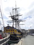 Corsair frigate replica docked in the harbor St Malo Stock Photography