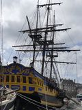 Corsair frigate replica docked in the harbor St Malo Royalty Free Stock Image