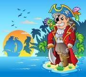 Corsair nobile che si leva in piedi sull'isola Immagine Stock