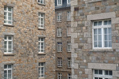 The Corsair town of Saint-Malo (Windows). The old town centre was 80% destroyed during the Second World War. It has been rebuilt exactly as was the old city and Stock Image