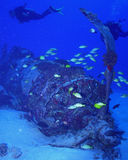 Corsair wreck diving. Picture of a wrecked Corsair scuba diving in Oahu Hawaii at 115 ft deep royalty free stock photos