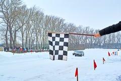 Corse della pista dell'automobile di inverno di rivestimento Fotografie Stock Libere da Diritti