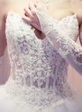 Corset de robe de mariées. Photos stock