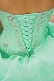 Corset Dress Lace. Detail shot of lacing on corset dress Stock Photo