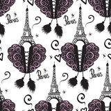 Corset lacing and black ink Eiffel Tower. Paris and corsets. Vector Seamless pattern isolated on white background. Stock Image