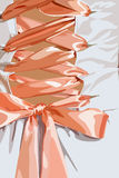 Corset with ribbon. White Corset with pink satin ribbon,  illustration Royalty Free Stock Images
