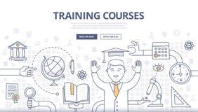 Corsi di formazione e concetto di scarabocchio di istruzione Immagini Stock Libere da Diritti