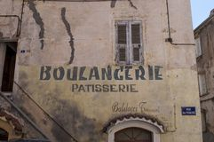 Corte, Citadel, bakery, boulangerie, Corsica, Corse, Cap Corse, Upper Corse, France, Europe. Corsica, 31/08/2017: the ancient sign of a bakery and pastry shop in Stock Photo