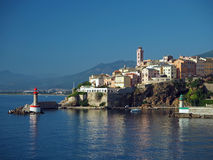 Corsica Bastia port town - gate lighthouses. With a blue sky royalty free stock images