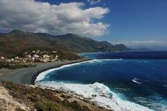 Corsica beach. Black beach in corsica cape Royalty Free Stock Image