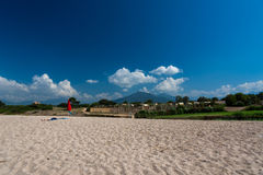 Corsica beach and mountains. Corsica beach, mountains and nature stock photography
