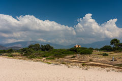 Corsica beach and mountains. Corsica beach, mountains and nature stock image