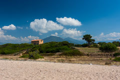 Corsica beach and mountains. Corsica beach, mountains and nature stock photo
