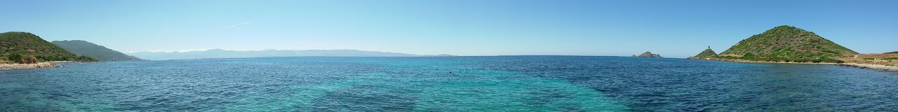 Corsica beach. Panoramic photo of beautiful beach in Corsica, where you can witness the blue tones of the Mediterranean Sea Stock Photography