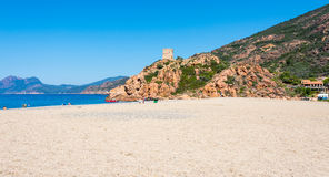 Corsica beach in park Scandola. Small Corsica beach in nature park Scandola royalty free stock images