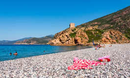Corsica beach in park Scandola. Small Corsica beach in nature park Scandola stock photography