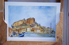 Corsica, Bonifacio, pocztówka, pamiątka, cytadela, stary miasteczko, sztuka, architektura, linia horyzontu Fotografia Stock
