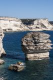 Corsica, Bonifacio, lighthouse, Strait of Bonifacio, beach, Mediterranean Sea, limestone, cliff, rocks, Bouches de Bonifacio Royalty Free Stock Photos