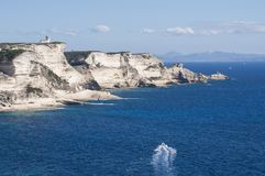 Corsica, Bonifacio, lighthouse, Strait of Bonifacio, beach, Mediterranean Sea, limestone, cliff, rocks, Bouches de Bonifacio Stock Photos