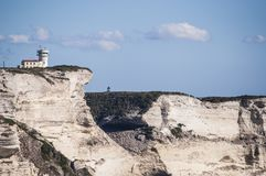 Corsica, Bonifacio, lighthouse, Strait of Bonifacio, beach, Mediterranean Sea, limestone, cliff, rocks, Bouches de Bonifacio Stock Photography
